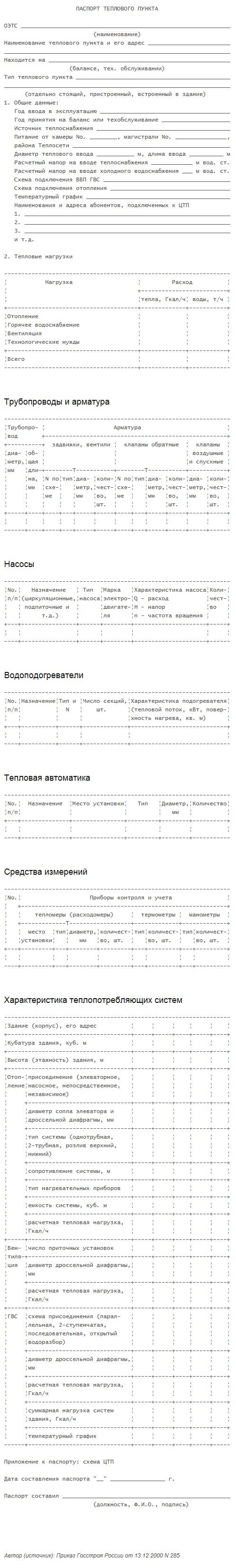 паспорт теплового пункта пример заполнения